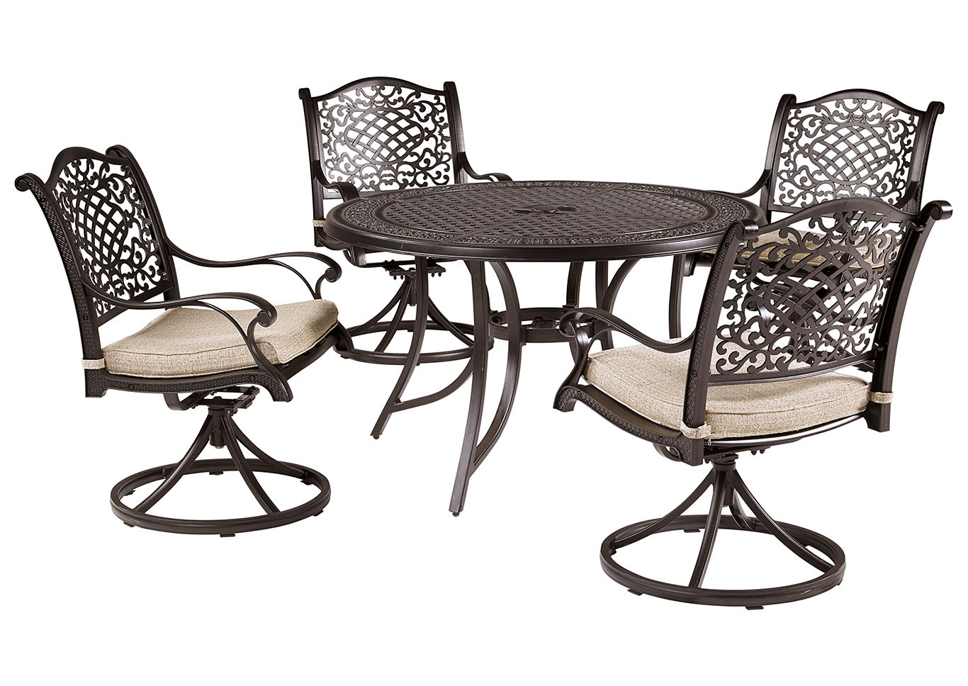 Burnella Brown Round Dining Table w/4 Rose View Swivel Chair Cushion,Outdoor By Ashley