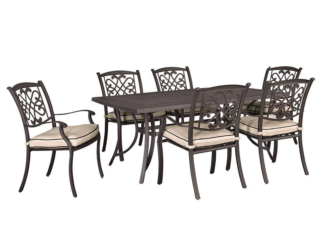Burnella Beige/Brown Rectangular Dining Table w/6 Sling Chairs,Outdoor By Ashley