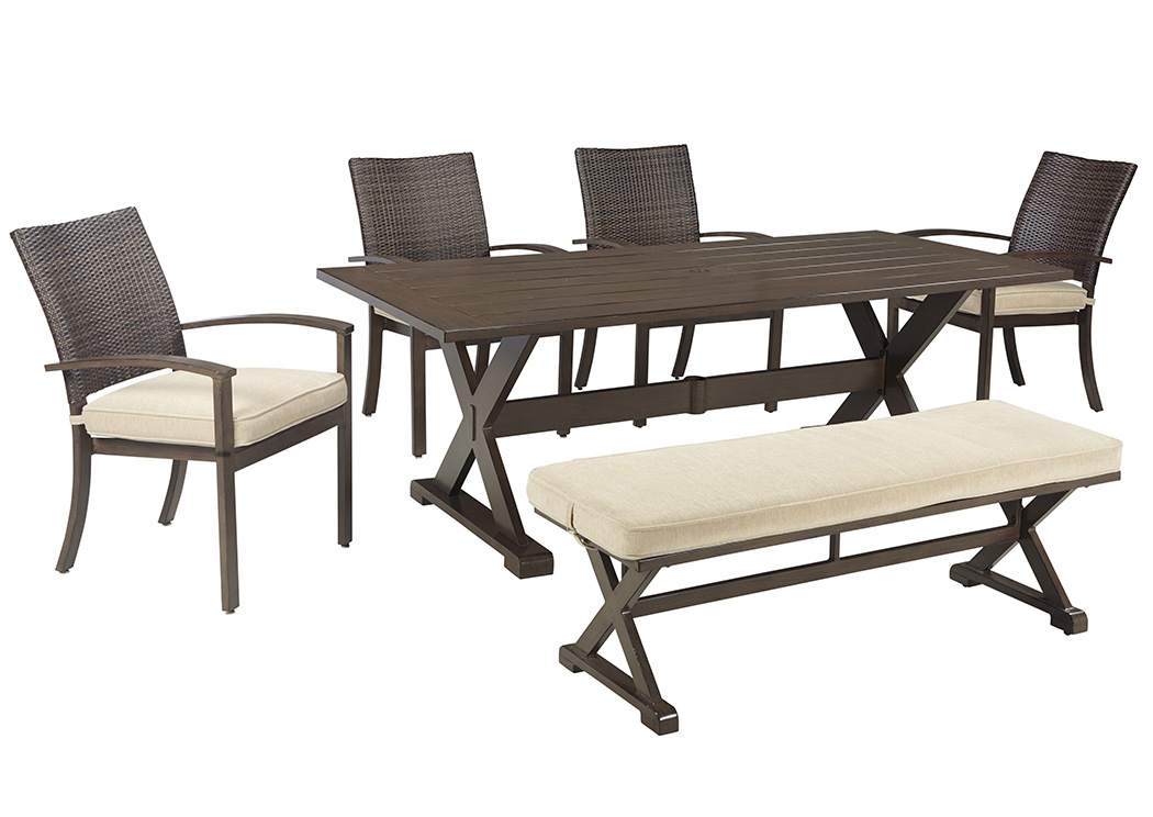 Moresdale Brown Rectangular Dining Table w/4 Chairs & Bench,Outdoor By Ashley