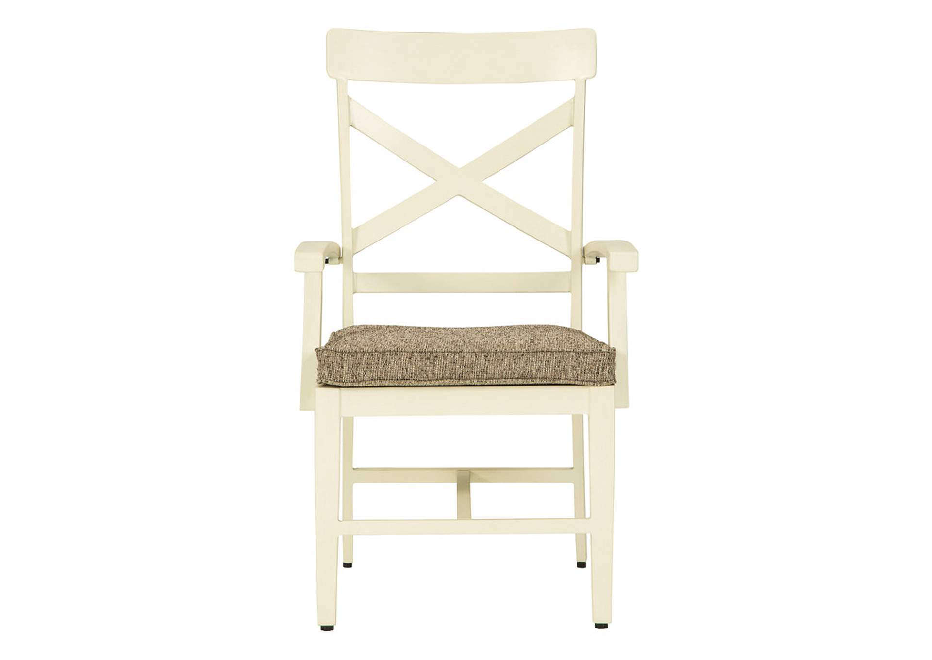 Preston Bay Antique White Arm Chair with Cushion (Set of 2),Outdoor By Ashley