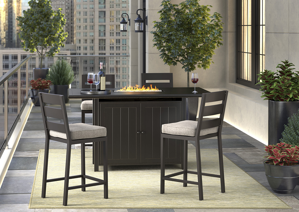 Perrymount Brown Rectangular Bar Table w/4 Barstools with Cushion,Outdoor By Ashley