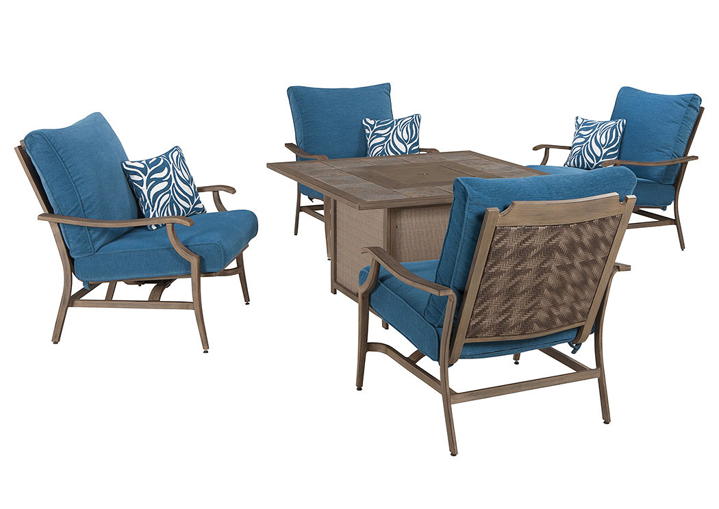 Goreeu0027s Furniture   Opelika, AL Partanna Blue/Beige Square Fire Pit Table  W/4 Motion Lounge Chairs