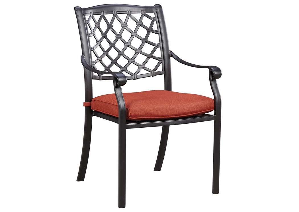 Tanglevale Burnt Orange Chair w/Cushion (Set of 4),Outdoor By Ashley