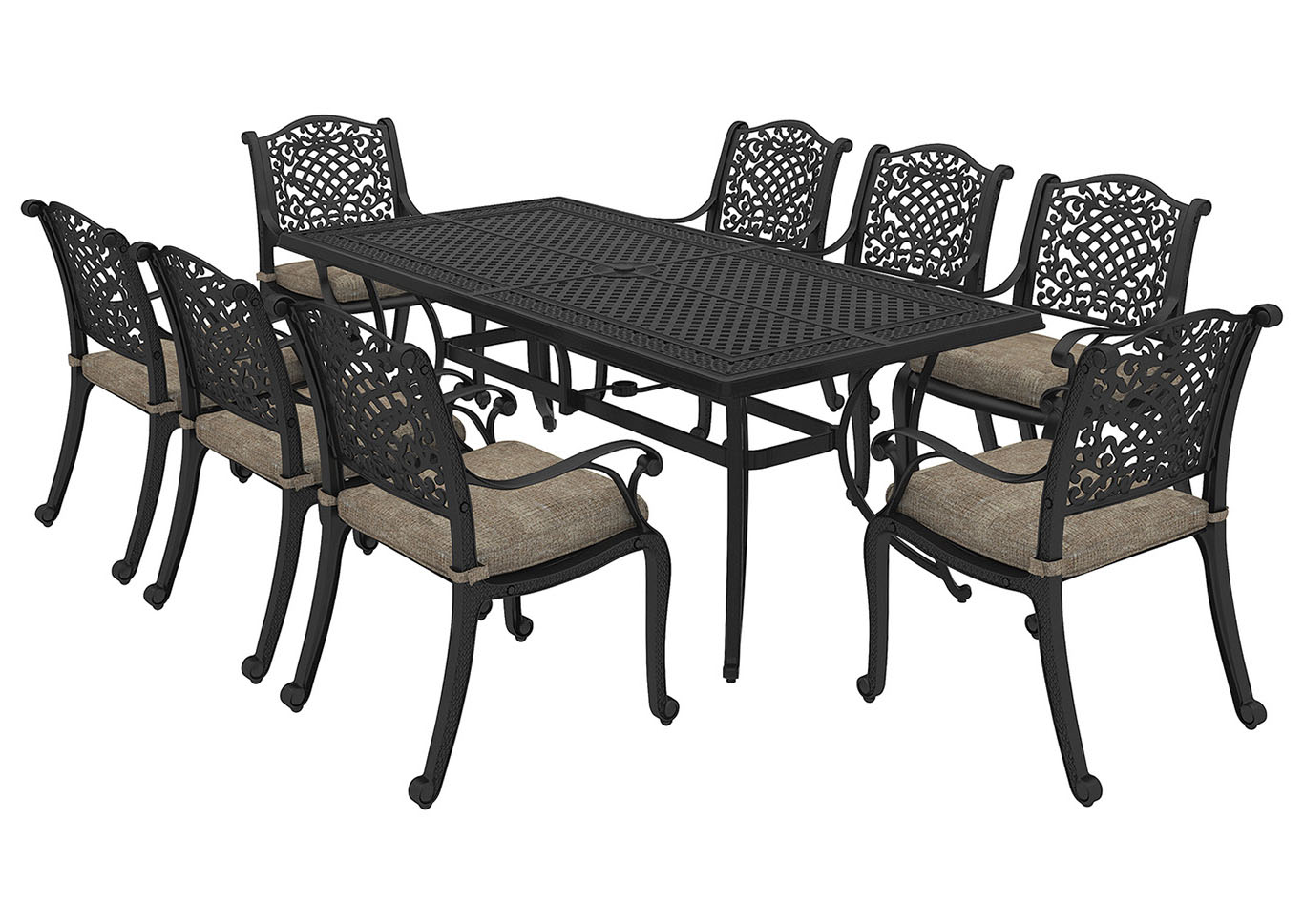 Burnella Brown Rectangular Dining Table w/8 Rose View Chair Cushion,Outdoor By Ashley