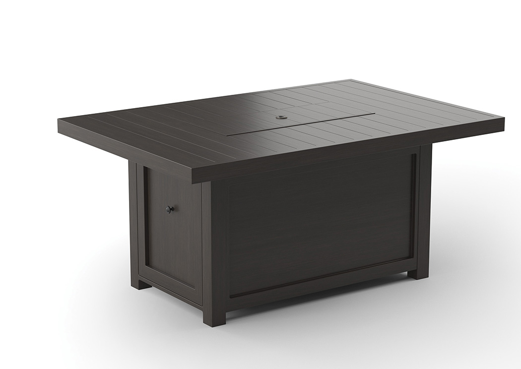Cordova Reef Dark Brown Rectangular Fire Pit Table,Outdoor By Ashley