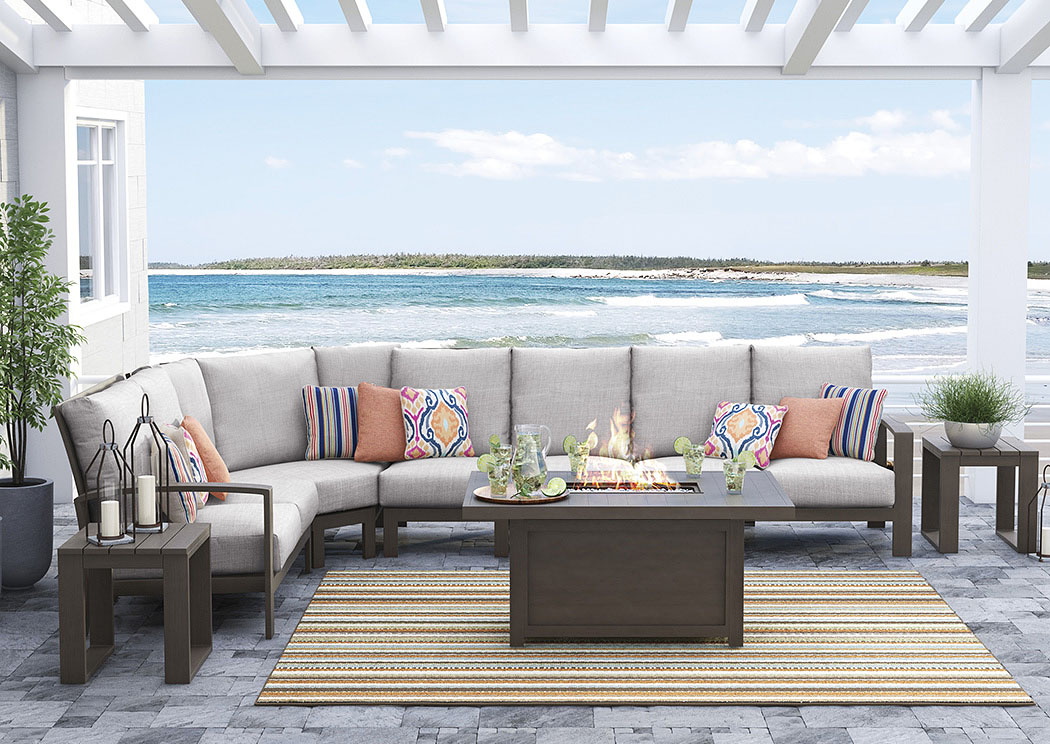 Cordova Reef Dark Brown Sectional,Outdoor By Ashley