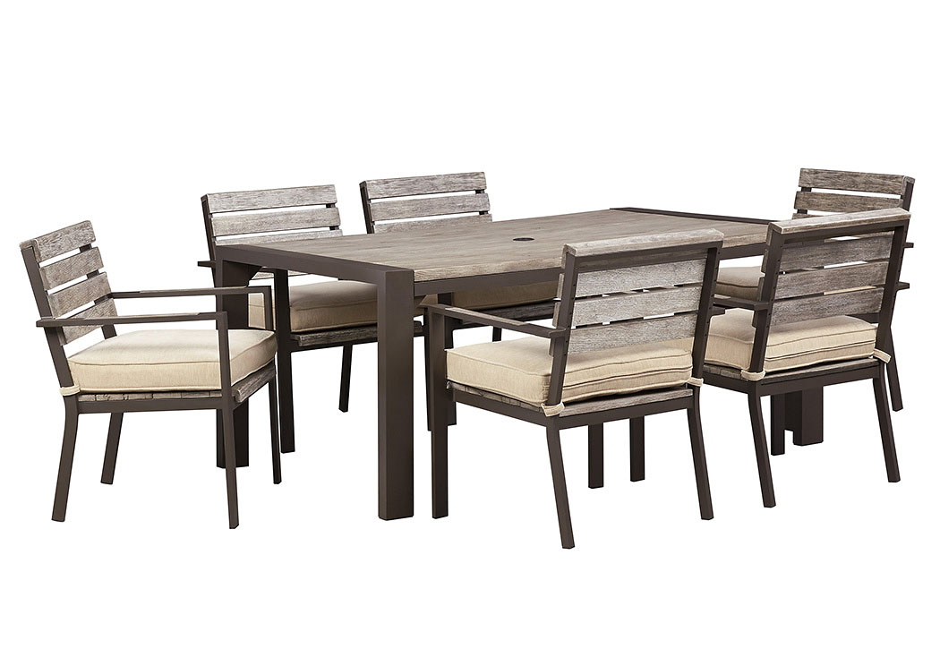 Peachstone Rectangular Dining Table w/6 Chairs,Outdoor By Ashley