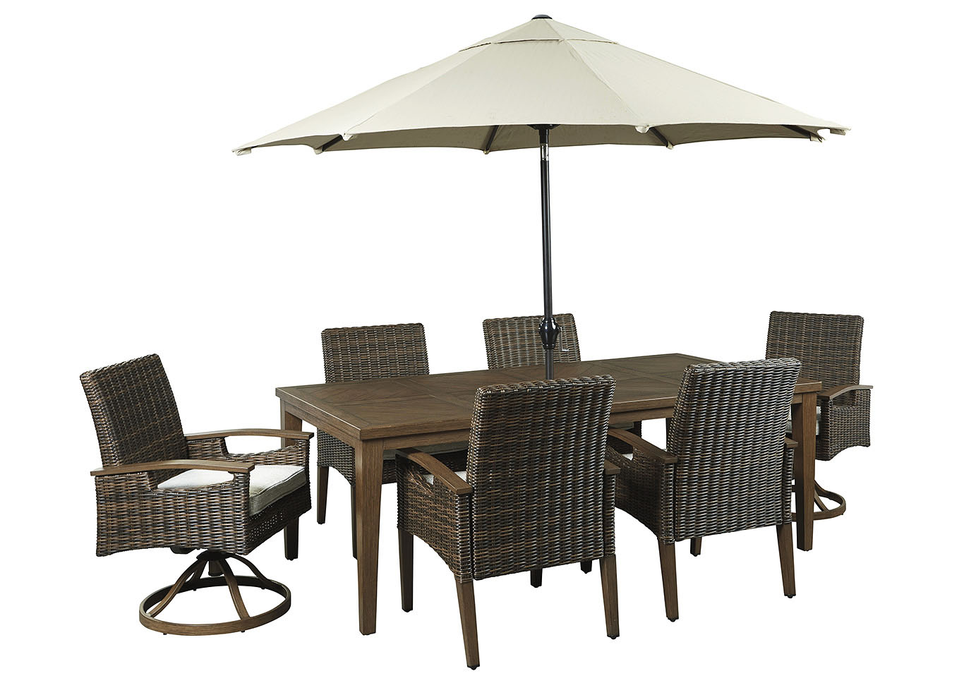 Paradise Trail Brown Dining Table w/4 Armed Chairs & 2 Swivel Chairs,Outdoor By Ashley