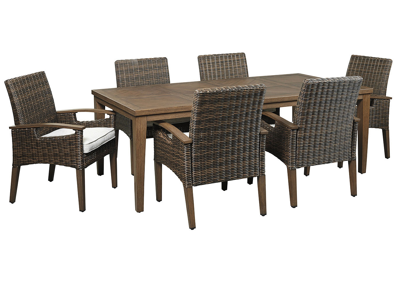 Paradise Trail Medium Brown Dining Table w/6 Arm Chairs,Outdoor By Ashley