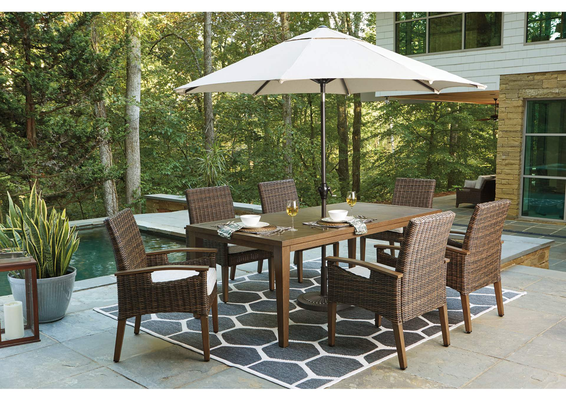 Paradise Trail Brown Dining Table w/6 Armed Chairs,Outdoor By Ashley
