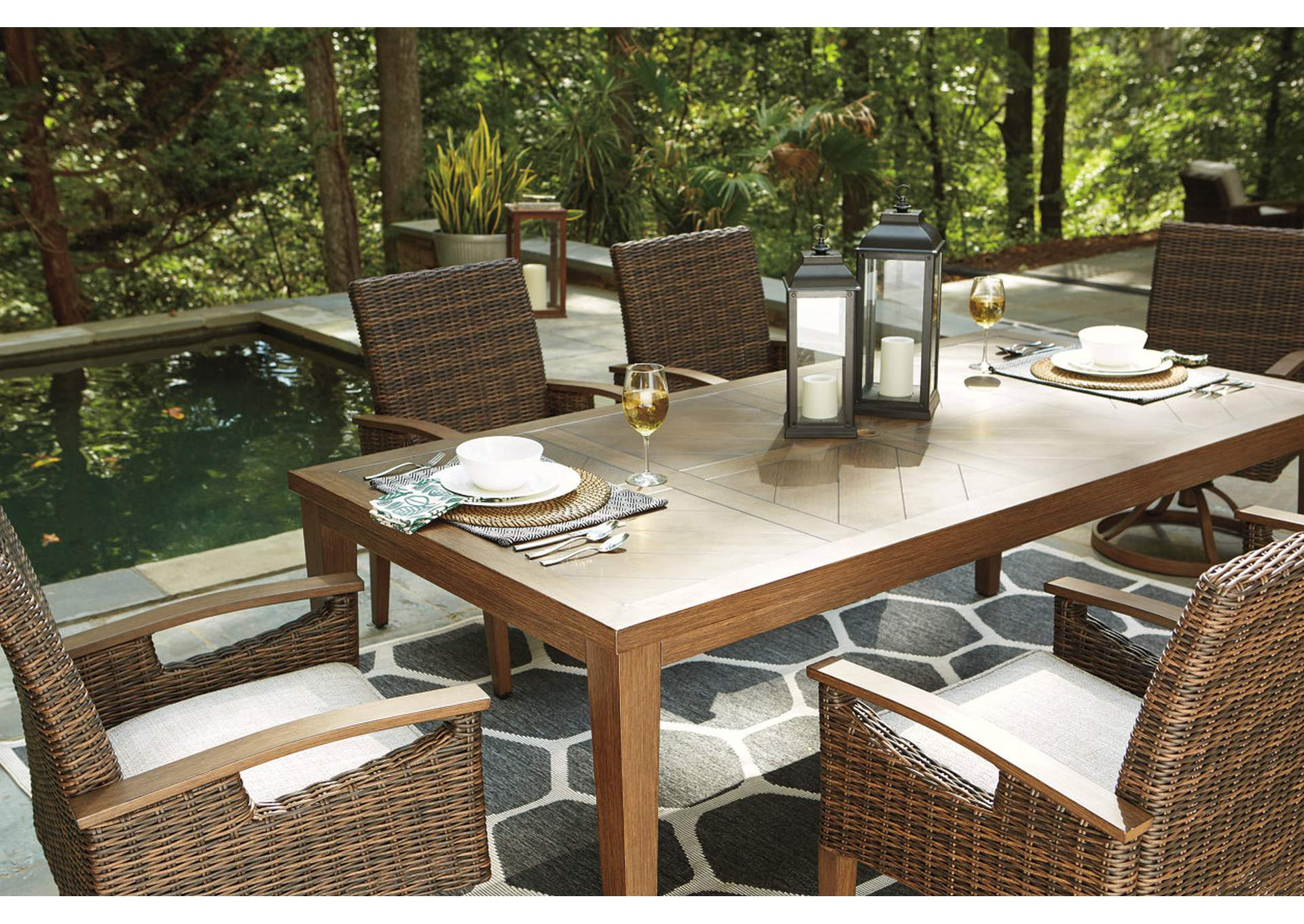 Paradise Trail Brown Dining Table w/Umbrella Option,Outdoor By Ashley