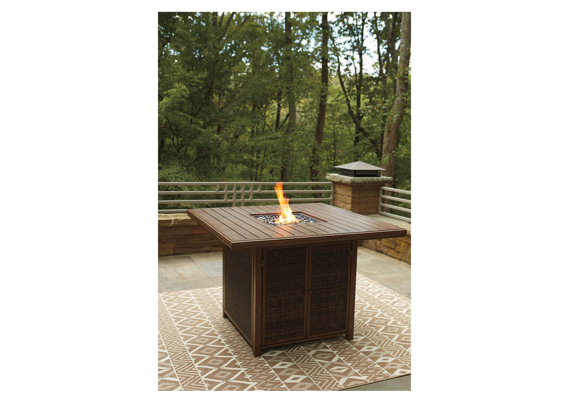 Paradise Trail Brown Bar Table w/Fire Pit,Outdoor By Ashley
