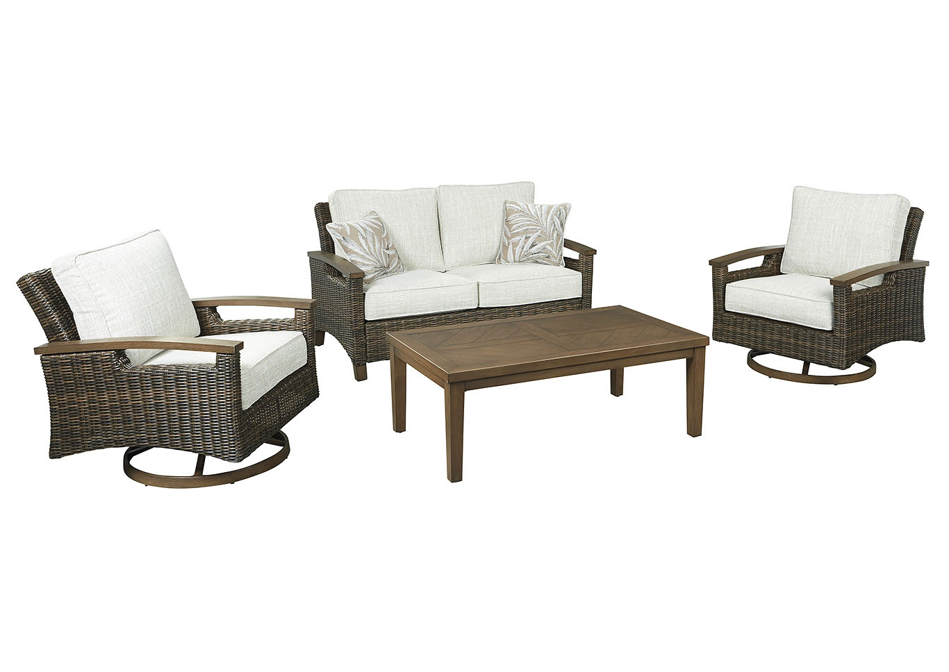 Paradise Trail Brown Loveseat w/2 Swivel Chairs & Coffee Table,Outdoor By Ashley