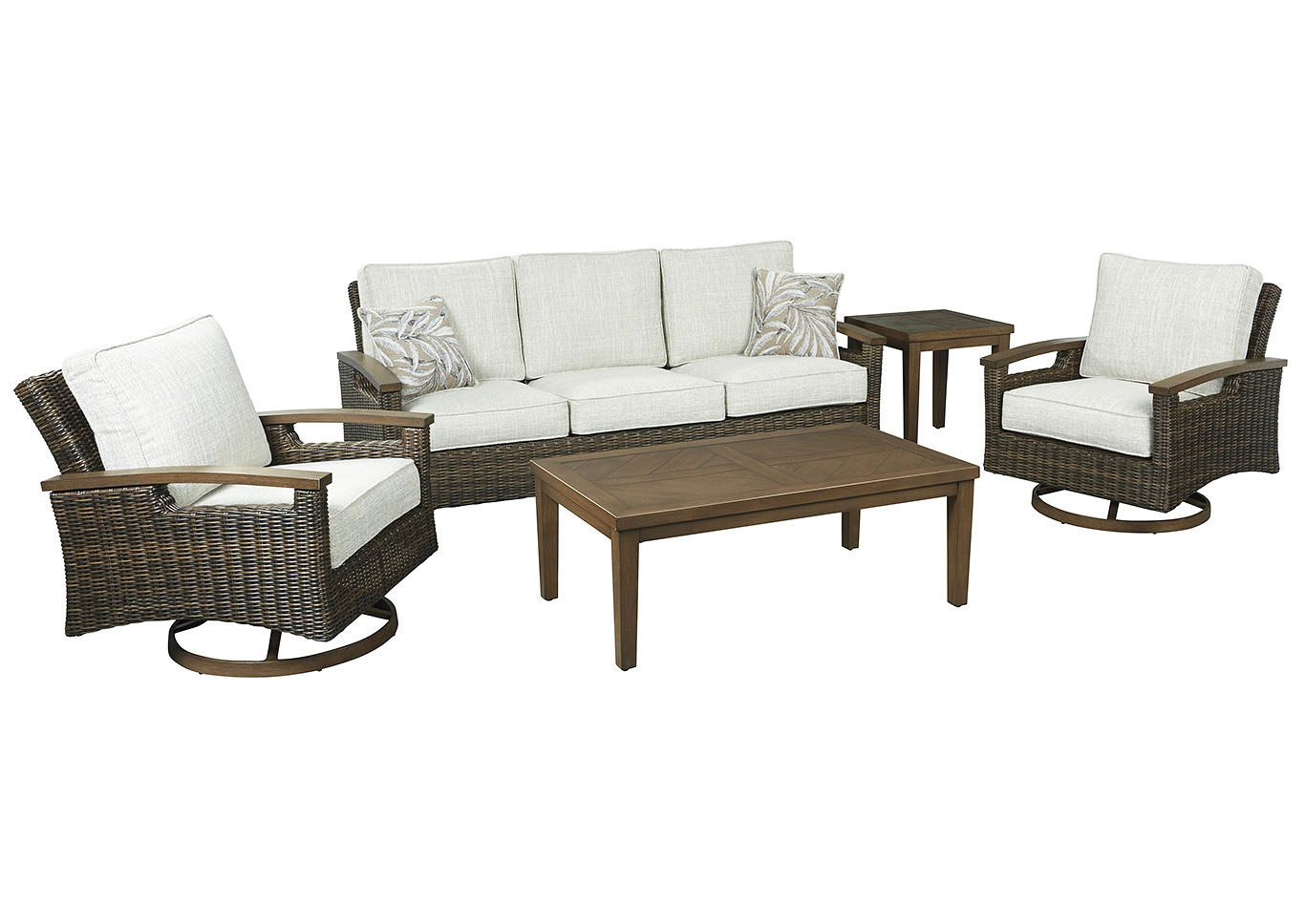Paradise Trail Brown Sofa w/2 Swivel Chairs, Coffee Table & End Table,Outdoor By Ashley