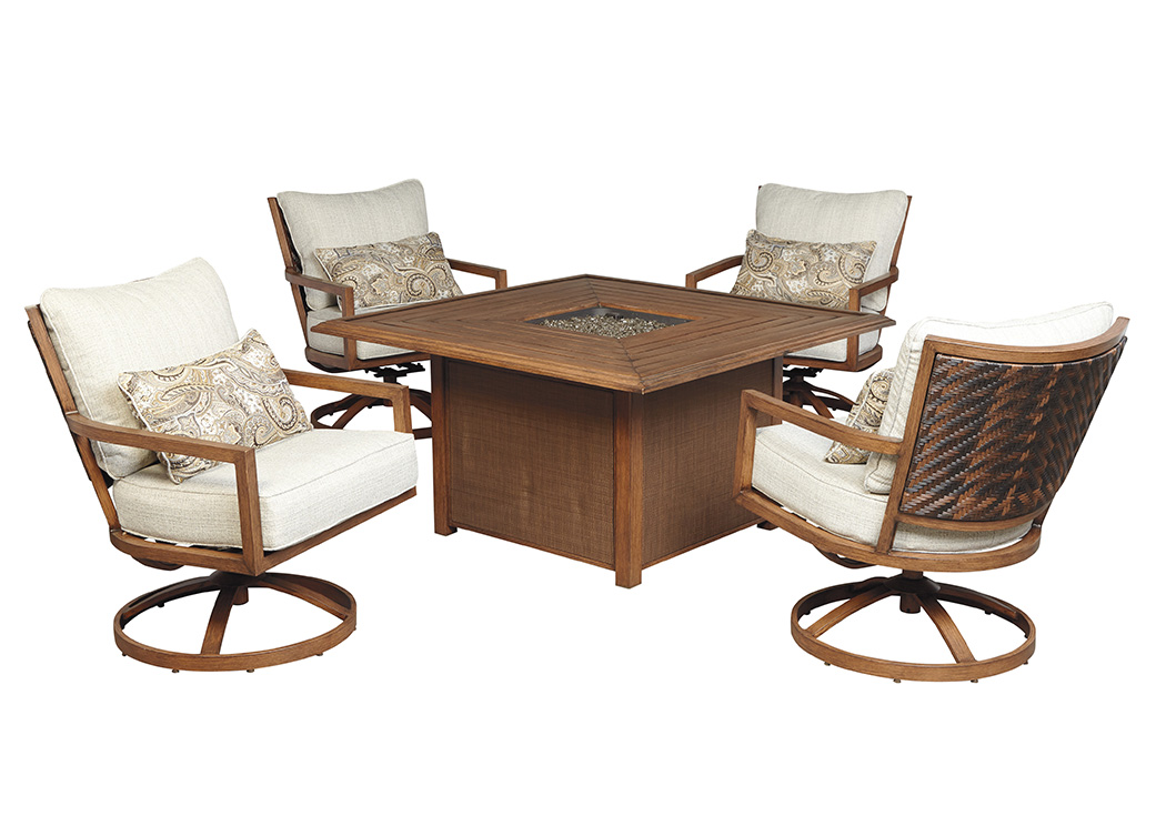 Zoranne Square Fire Pit Table w/4 Swivel Lounge Chairs,Outdoor By Ashley