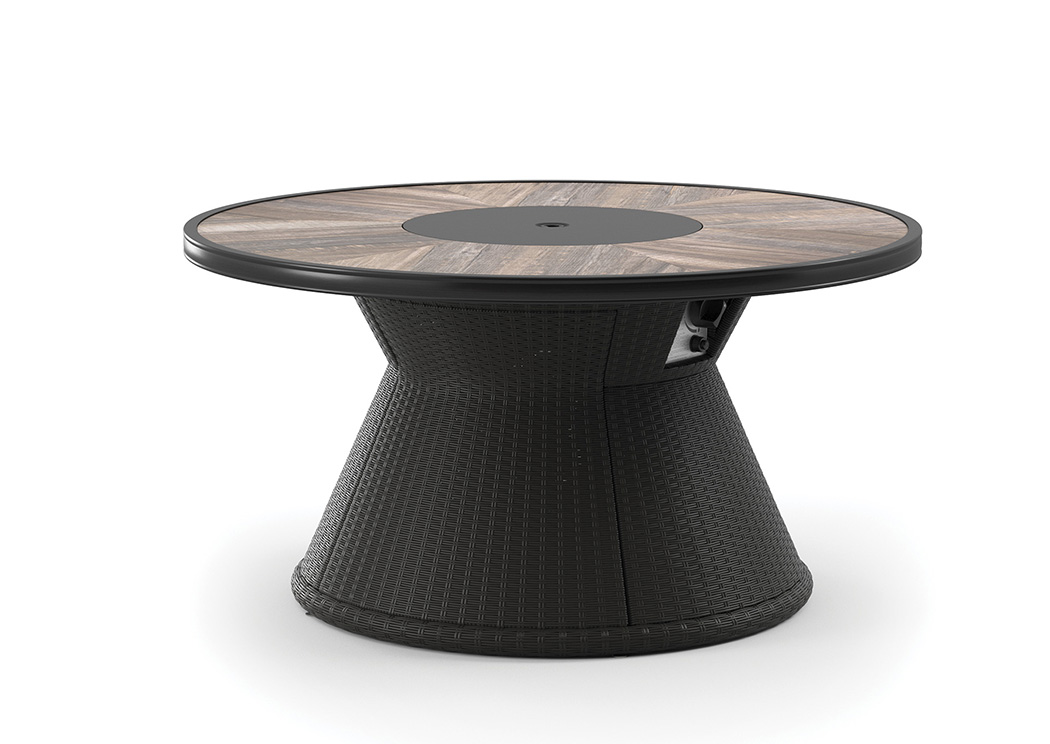 Marsh Creek Brown Round Fire Pit Table,Outdoor By Ashley