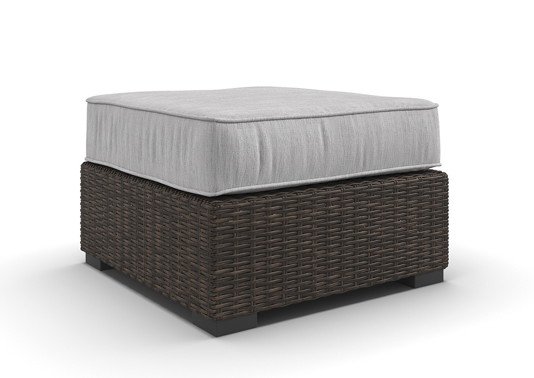 Alta Grande Beige/Brown Ottoman with Cushion,Outdoor By Ashley