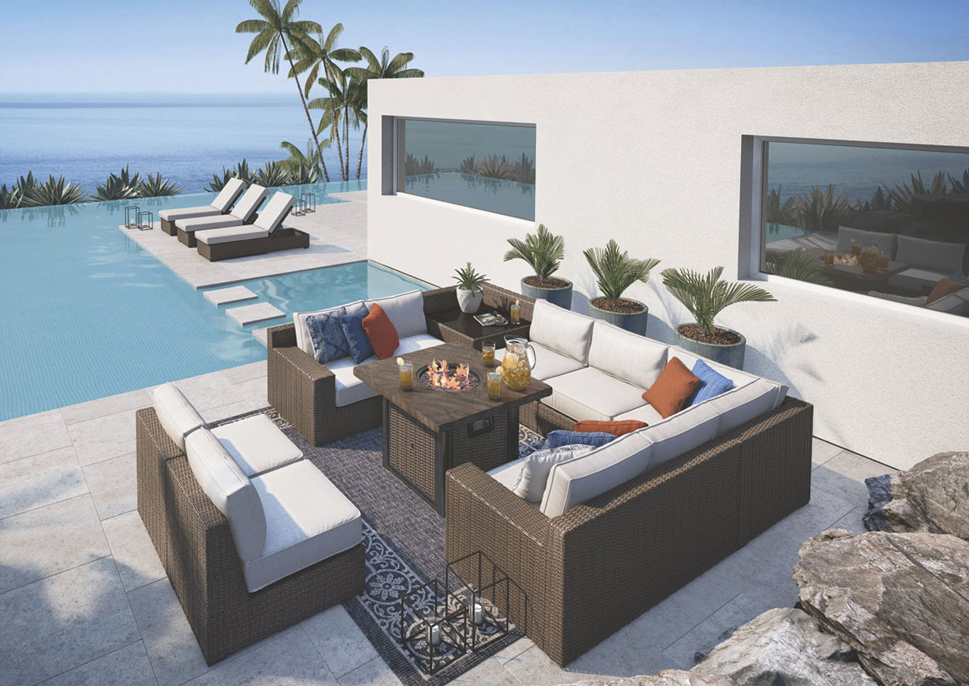 Alta Grande Beige/Brown Sectional,Outdoor By Ashley