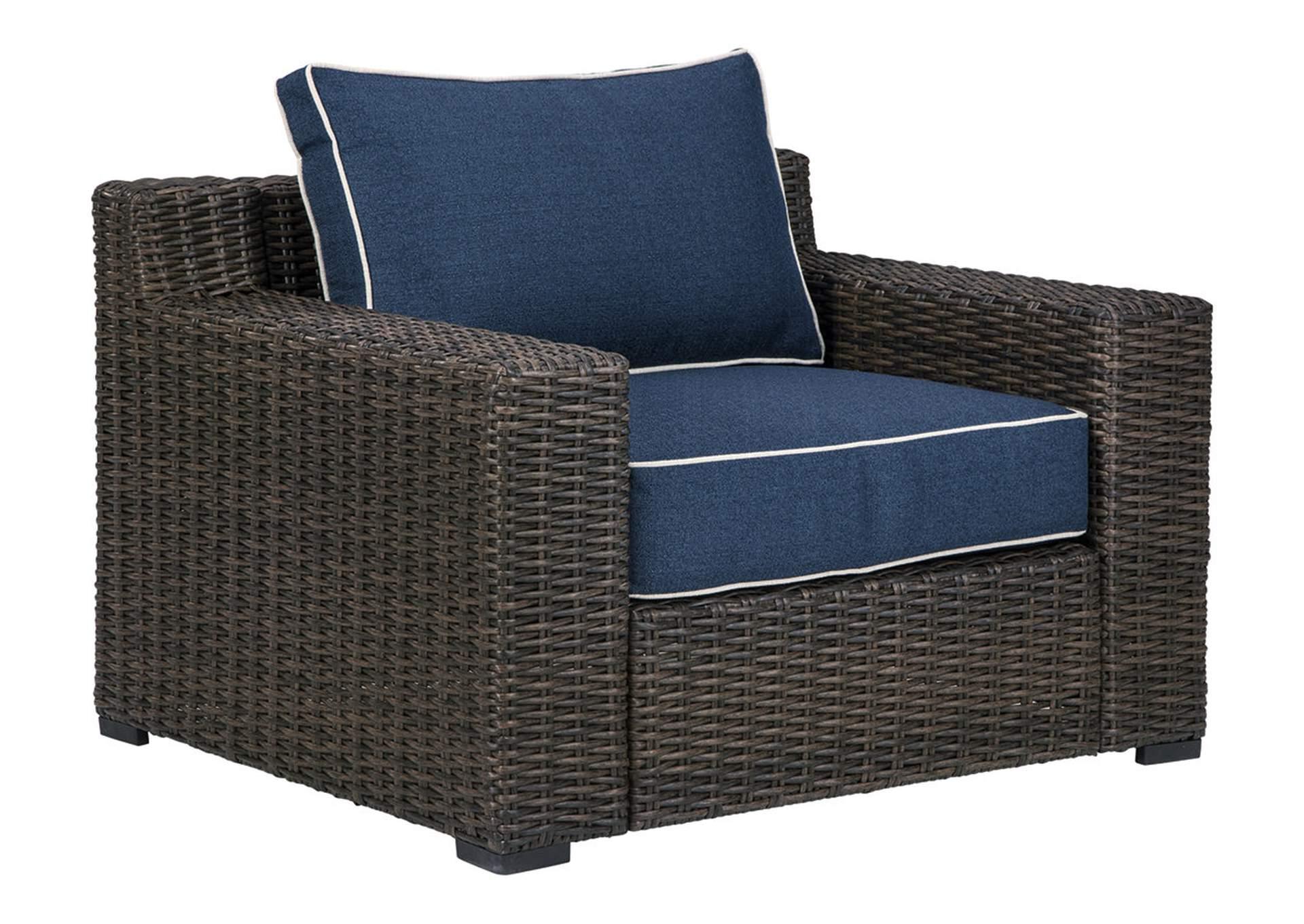 Grasson Lane Brown/Blue Lounge Chair with Cushion,Outdoor By Ashley