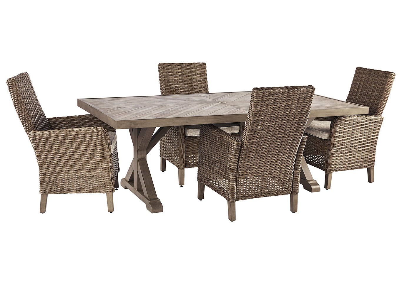 Beachcroft Beige Dining Table w/4 Side Chairs,Outdoor By Ashley