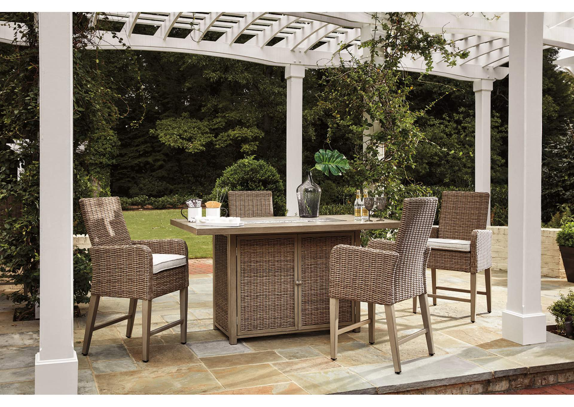Beachcroft Beige Bar Table w/4 Bar Stools,Outdoor By Ashley