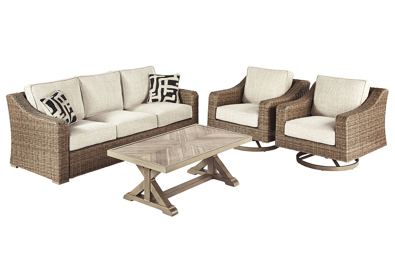 Beachcroft Beige 4 Piece Chat Set,Outdoor By Ashley