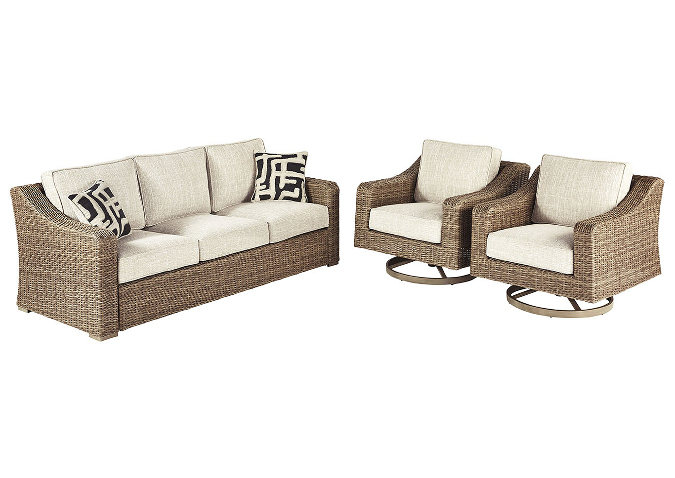 Beachcroft Beige Sofa w/2 Swivel Chairs,Outdoor By Ashley