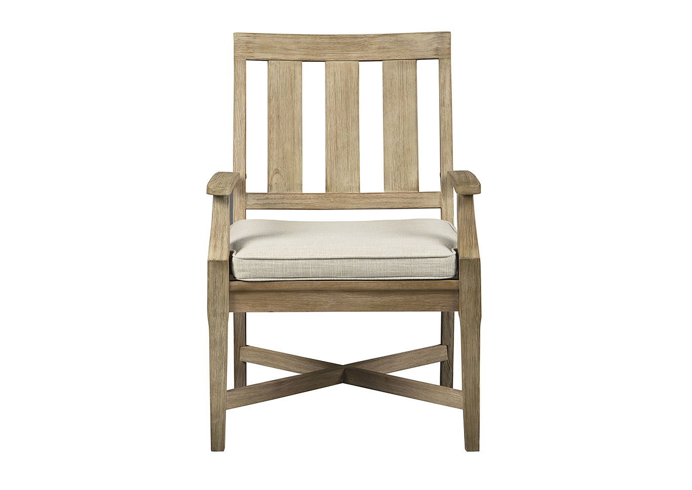 Clare View Beige Arm Chair with Cushion (Set of 2),Outdoor By Ashley