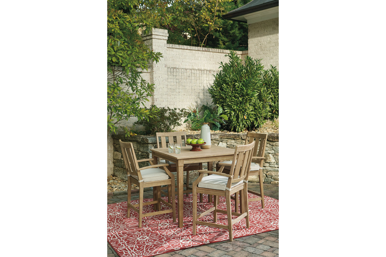 Clare View Beige Barstool w/Cushion (Set of 2),Outdoor By Ashley