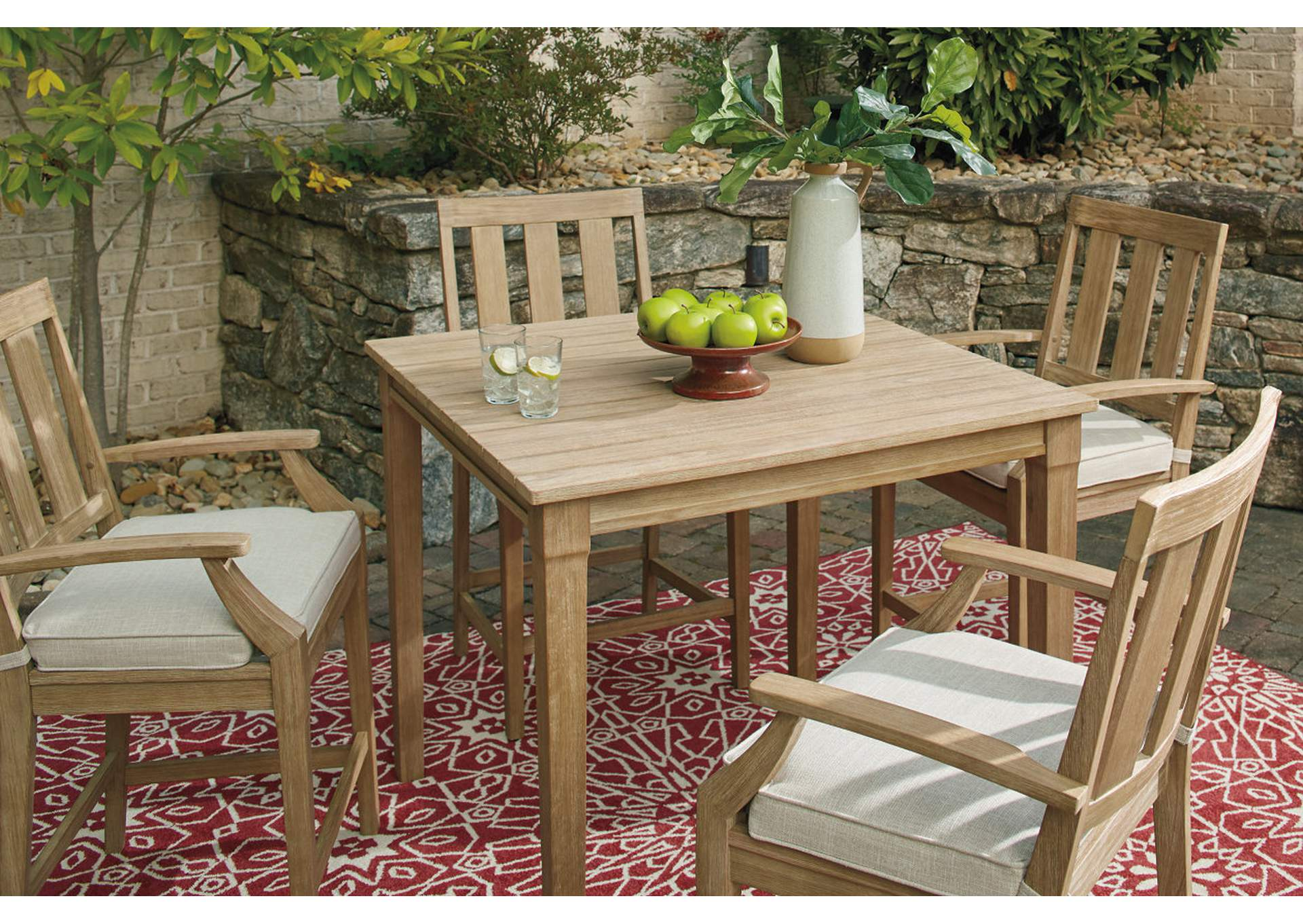 Clare View Beige Square Bar Table,Outdoor By Ashley