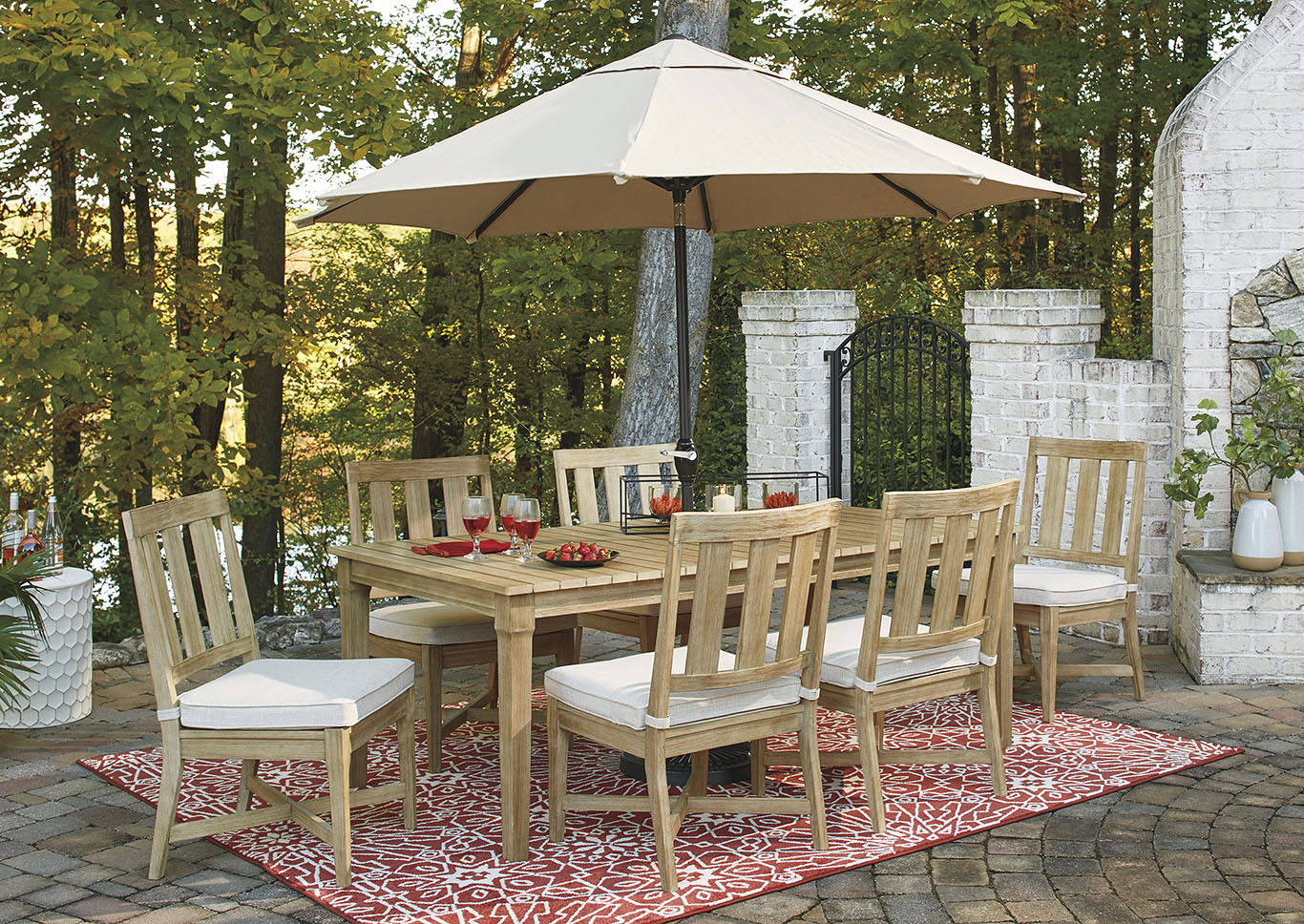 Clare View Beige Dining Table w/6 Chairs,Outdoor By Ashley
