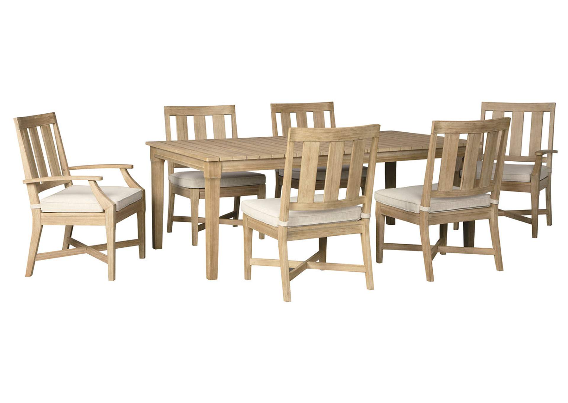 Clare View Beige Dining Table w/Umbrella Option, 4 Chair, 2 Arm Chair,Outdoor By Ashley