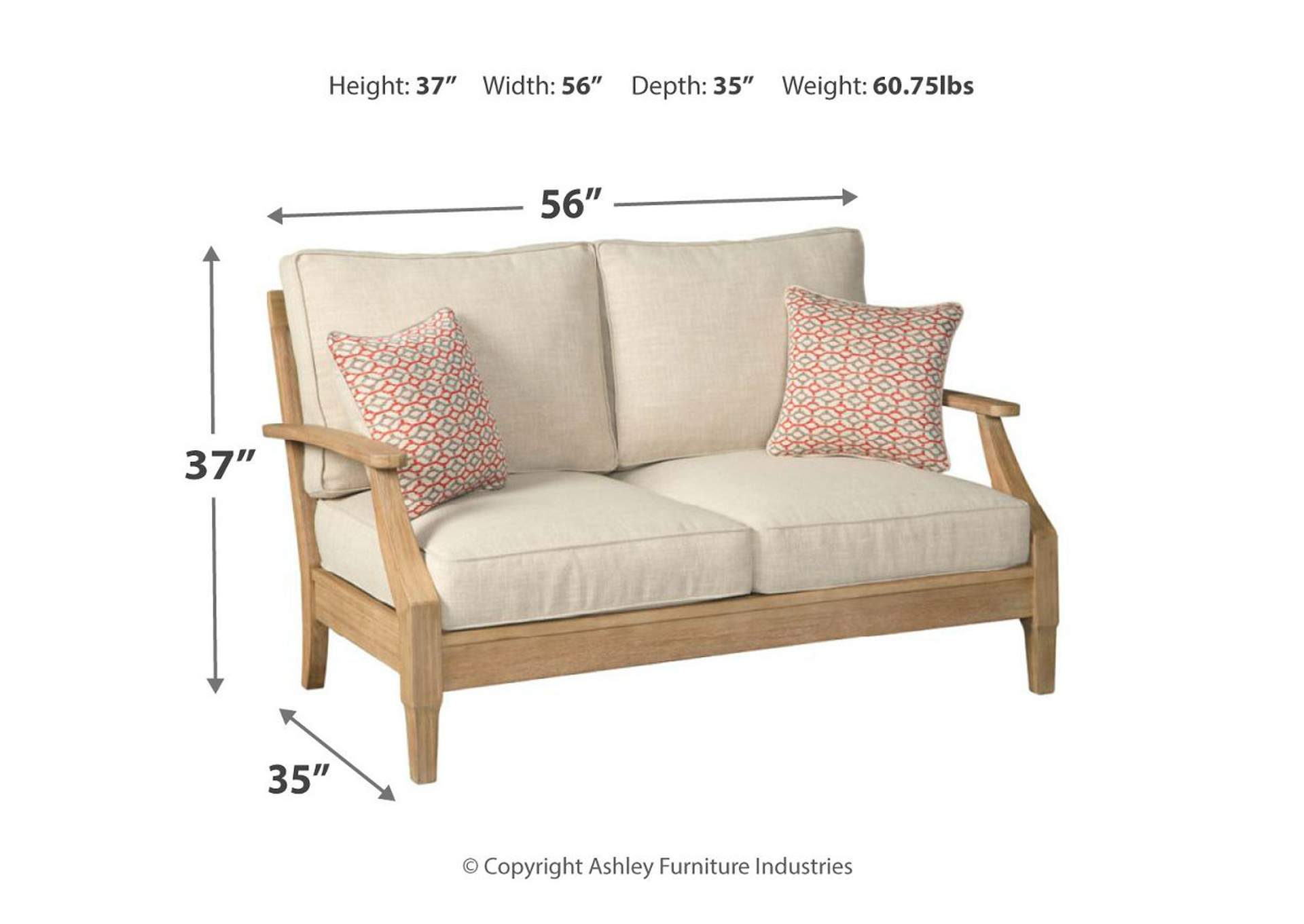 Clare View Beige Loveseat w/Cushion,Outdoor By Ashley