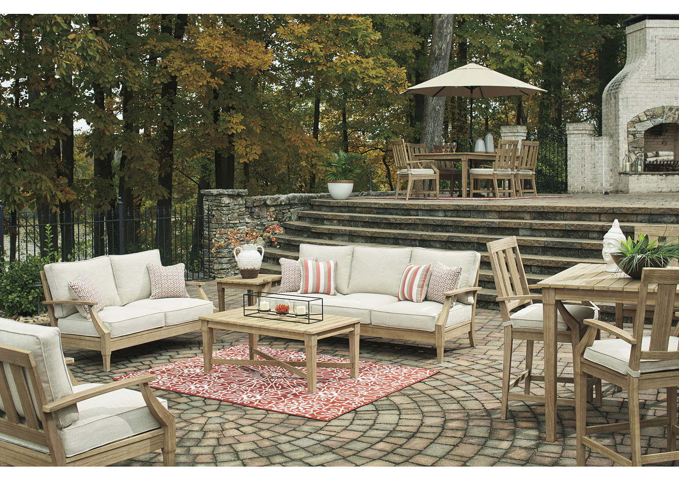 Clare View Beige Sofa & Loveseat w/Cushion,Outdoor By Ashley
