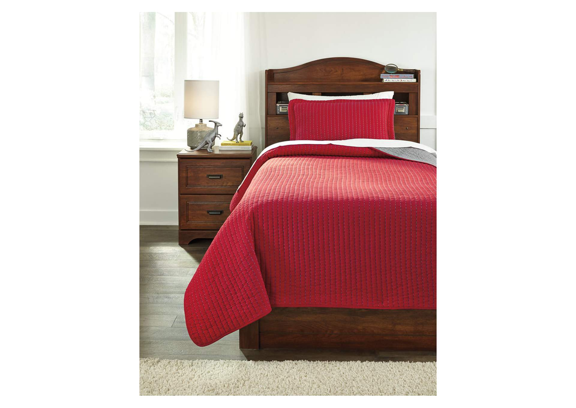 Dansby Red/Gray Twin Coverlet Set,Signature Design By Ashley