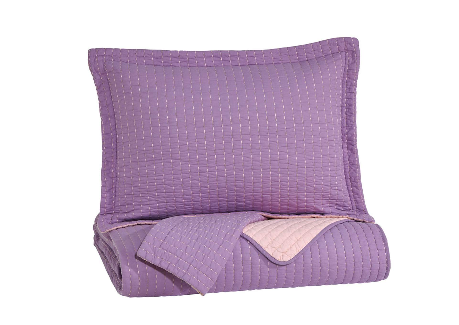 Dansby Lavender/Pink Full Coverlet Set,48 Hour Quick Ship