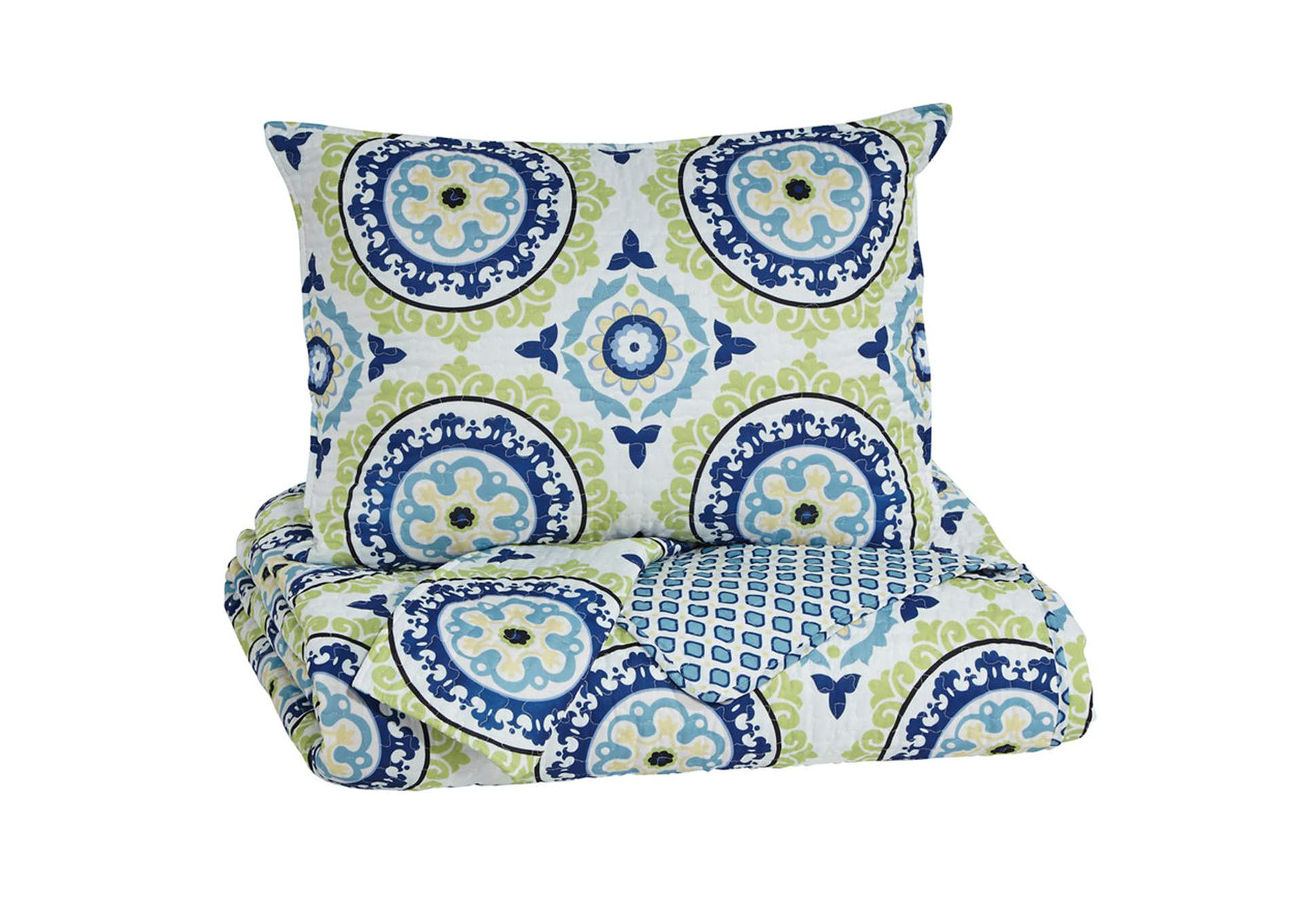 Danesha Blue/Green Full Coverlet Set,Signature Design By Ashley