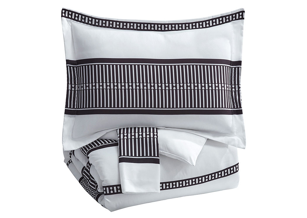 Masako Black/White Queen Comforter Set,Signature Design By Ashley
