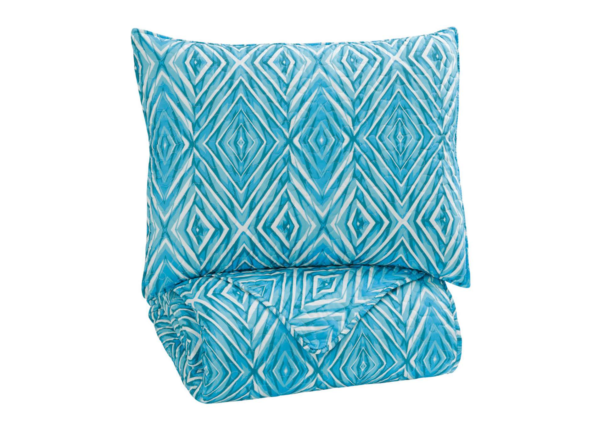 Jolana Turquoise Twin Quilt Set,Signature Design By Ashley