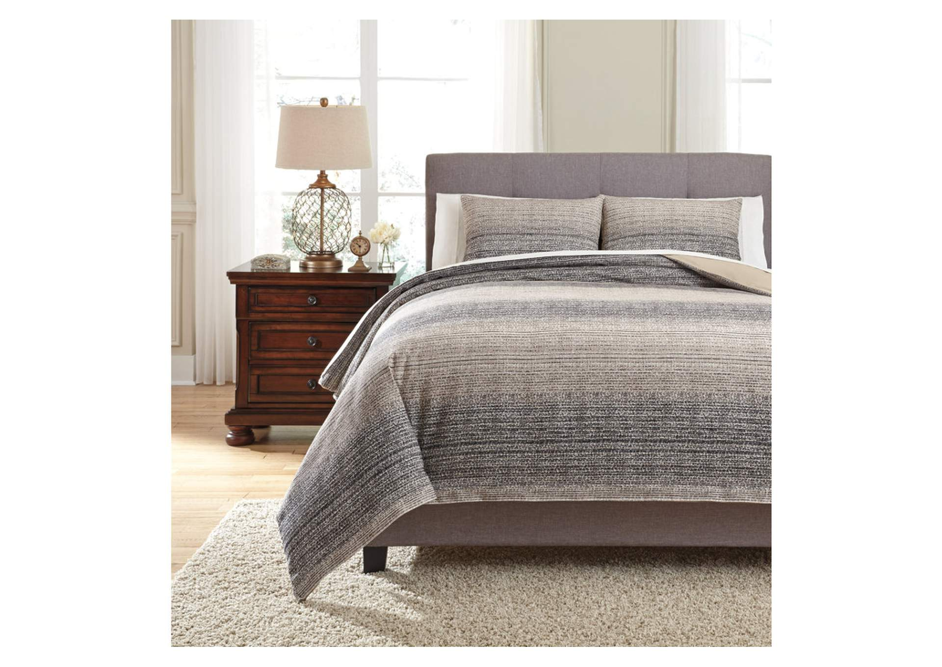 Arturo Natural/Charcoal King Duvet Cover Set,48 Hour Quick Ship