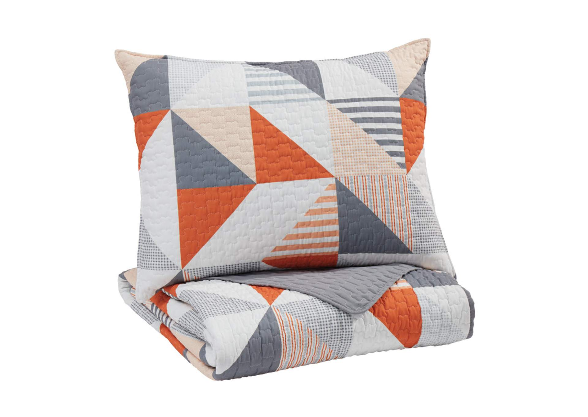 Layne Gray/Orange Twin Coverlet Set,Signature Design By Ashley