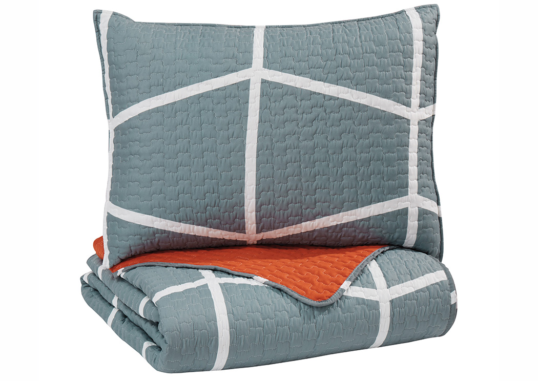Gage Gray/Orange Twin Coverlet Set,Signature Design By Ashley