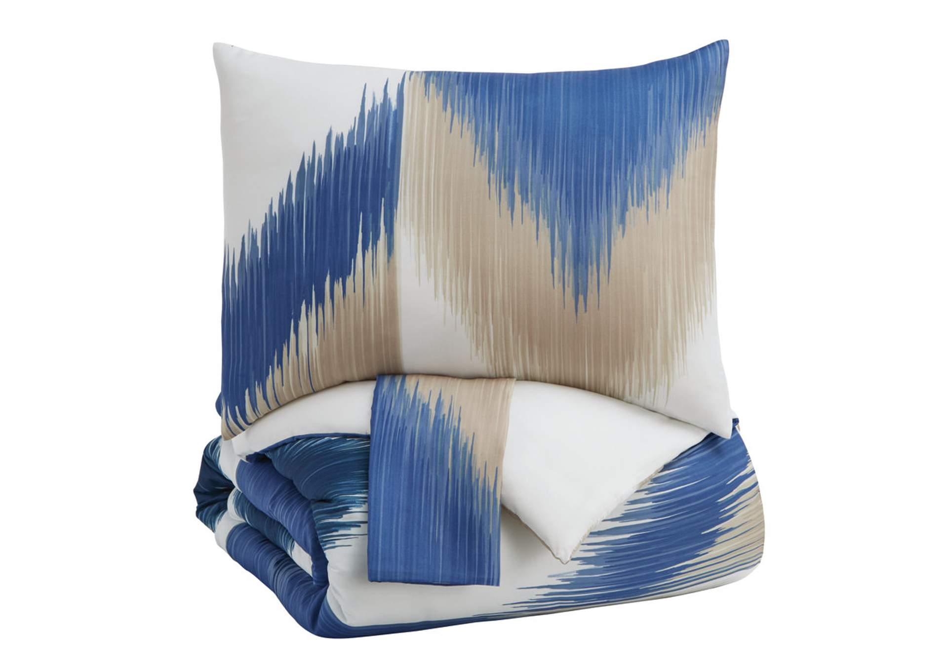 Mayda Blue/Off White Queen Comforter Set,Signature Design By Ashley