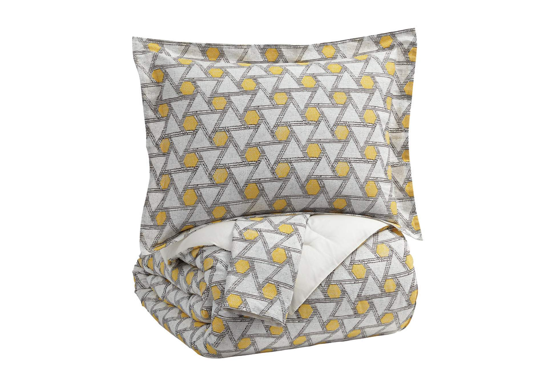 Clio Yellow/Black King Comforter Set,Signature Design By Ashley