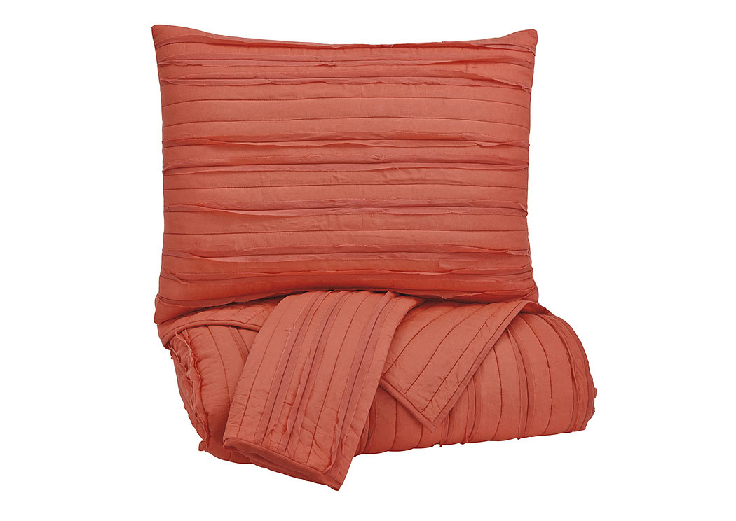 Solsta Coral Queen Coverlet Set,Signature Design By Ashley