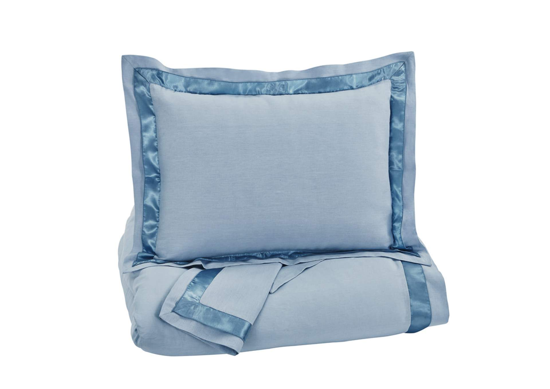 Farday Soft Blue Queen Duvet Cover Set,Signature Design By Ashley