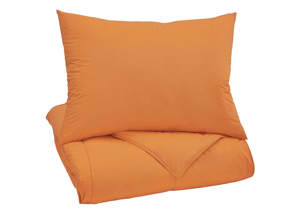 Plainfield Orange Twin Comforter Set,Signature Design By Ashley