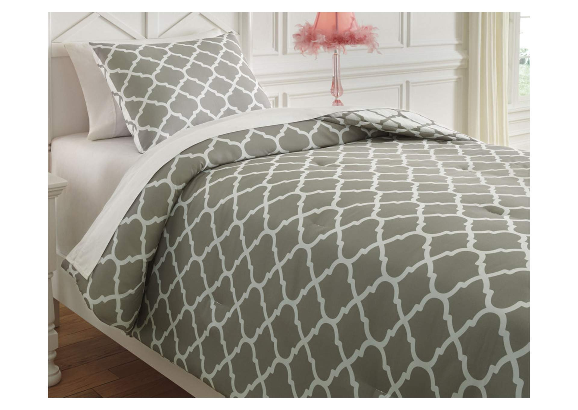 Media Gray/White Twin Comforter Set,Signature Design By Ashley