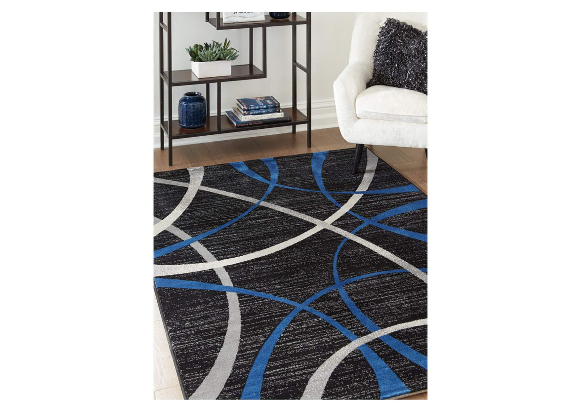 Jenue Black/Gray/Blue Medium Rug,Signature Design By Ashley