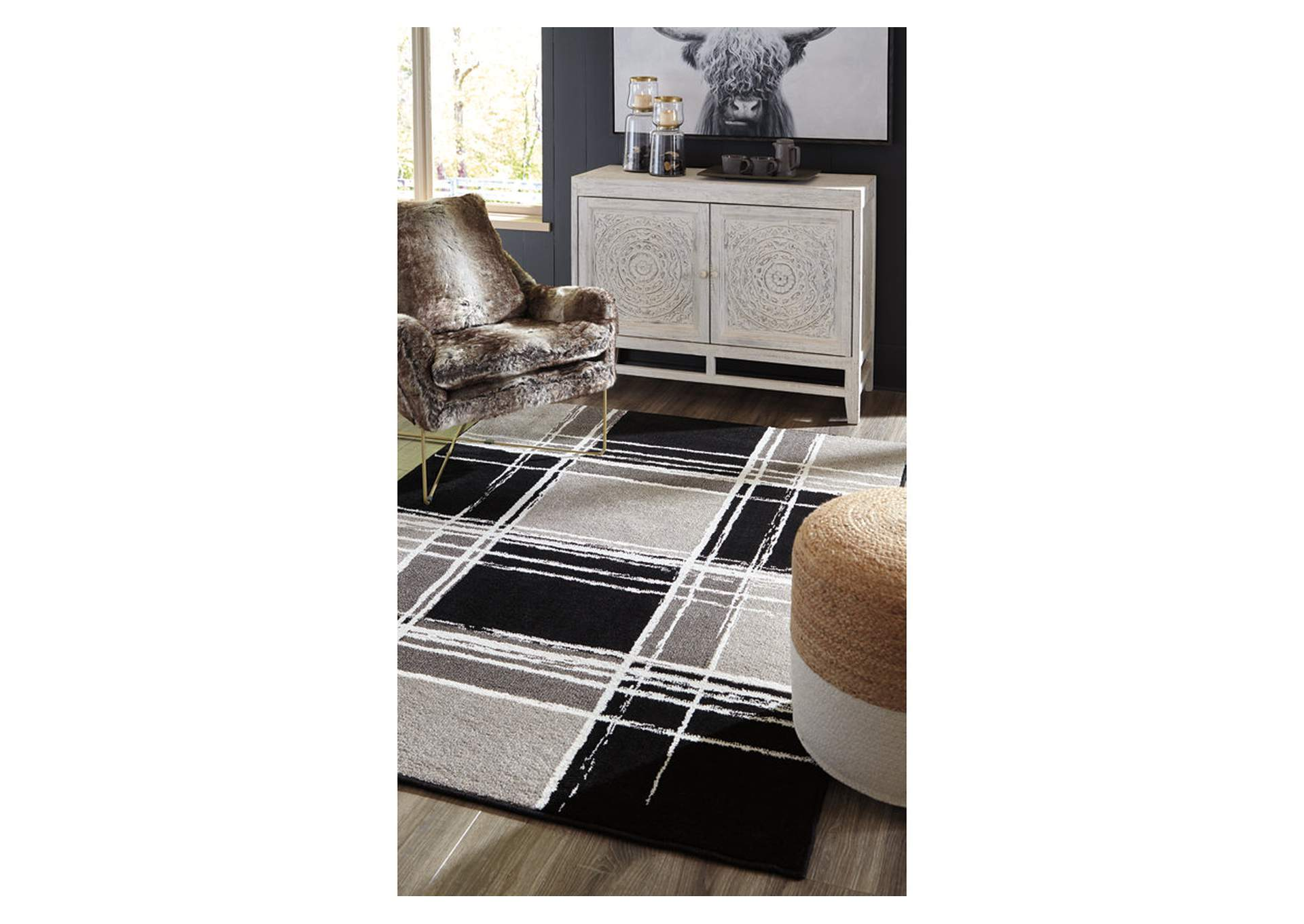 Ramy Medium Black/White Rug,Signature Design By Ashley